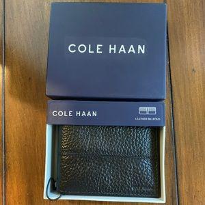 NWT Men's Cole Haan Black Leather Billfold Wallet